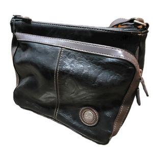 Mouflon Black with Brown Trim Crossbody Bag